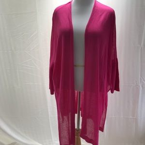 Chico's pink long knit cardigan